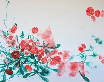 red poppy flowers linocut print