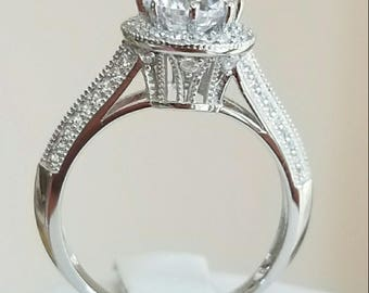 14K Solid White Gold 1.5ct Diamond Engagement Ring