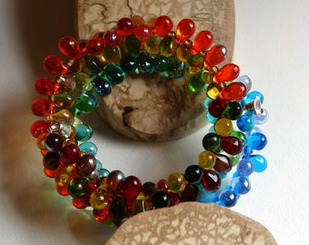 Bracelet multicolored cuff three towers Rainbow glass and Bohemian crystal
