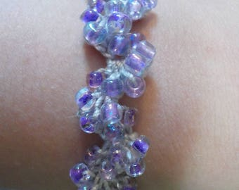 Gray and Light Purple Beaded Crochet Bracelet
