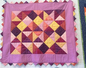 Hand-Quilted Prairie Point Baby Quilt