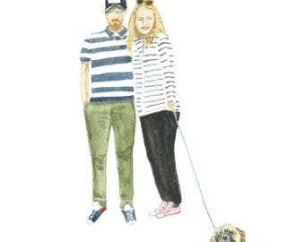 Custom portrait of two people and a dog