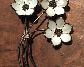 Vintage 3 white enamel flower sterling silver pin brooch
