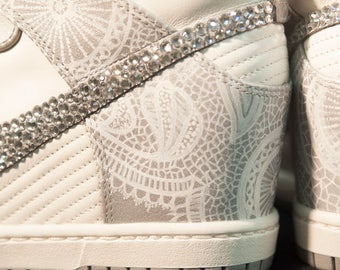 Customized Lace and Rhinestone Bridal Sneaker Wedges