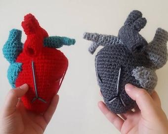 Crochet novelty heart- love sick- Valentine's gift- anti-Valentine's- handmade heart realistic- nerdy gift