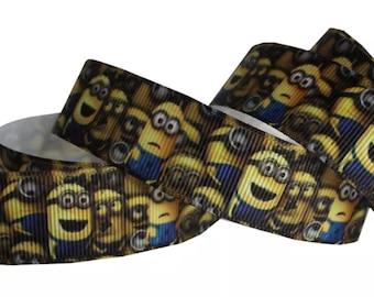 Yellow Blue Minions 7/8 inch Grosgrain Ribbon