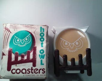 Hoot Owl Coaster Set With Box Made In USA