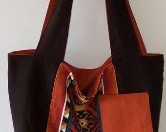 TOTE BAG handmade fabric reversible shoulder bag