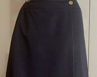 CHANEL VINTAGE wrap skirt navy blue size S