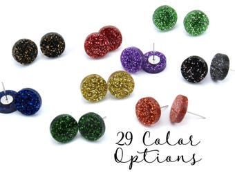 "1 Pair Blank Round Post Earrings, 12mm 1/2"" 16mm 3/4"" Glitter, Pearl, Mirror, Monogram Blank, Blank Acrylic Earrings, Acrylic Earring Blanks"
