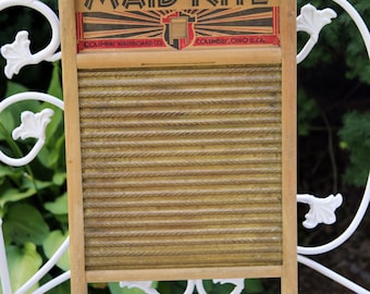 Antique Maid- Rite BRASS Washboard #2062 Columbus, Ohio USA