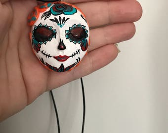 SugarSkull, necklace, Pendant,necklace,ladiesjewellery,skull,polymerclay, long necklace, day of the dead,wearable art, fashion, skulls
