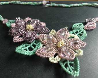 Handmade Beaded Flower Necklace in Green and Purple