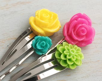 Colourful Spring Flower Hair Accessories, Bobby Pins, Silver Hair Clips, Wedding Accessories