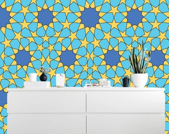 Removable Yellow and blue stars wallpaper , Peel and stick wallpaper  S136