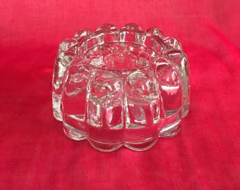 Clear glass 3 way candleholder