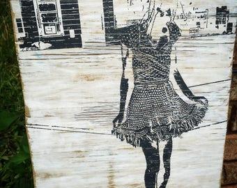 "Screen Print on Repurposed wood of ""Fragments"""