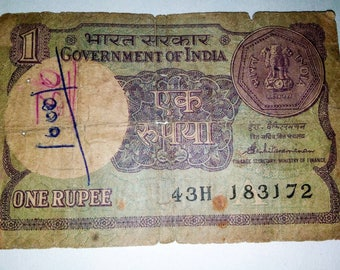 Rare One Rupee Note 1986 signed by S Venkatraman