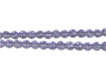 """6mm Soft Purple Faceted Round Glass Bead, 13"""" string"""