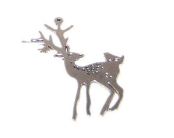 56 x 48mm Silver Reindeer Metal Ornament