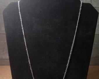 Silver Chain Necklace with Garnet Beads