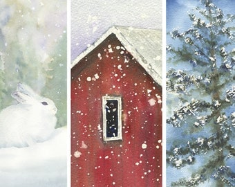 Watercolor Cards by LaVonne Ewing, the Winter Series