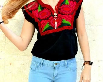 Red Flowers Embroidered Shirt