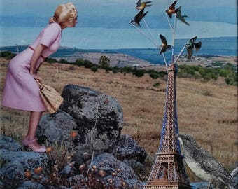 Tippy's Fears Follow. One of a kind. Collage art.