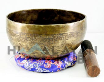 JAM Itching Singing Bowl, Pure Hand Hammered Singing Bowl, Mantra Itched Tibetan Singing Bowl, Buddha Eye Itched Singing Bowl