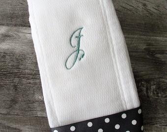 Custom Embroidered Burp Cloth Monogrammed Burp Rag Gray and white Polka Dot Cursive Initial