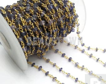20% OFF5 Feet Amethyst   3.5-4mm 24k Gold rosary style beaded chain - Amethyst chain - beaded chain BTBC015