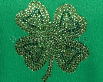 Sparkly Lucky Four Leaf Clover Embellished Top