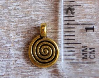 Charm antique gold spiral color