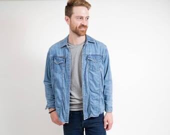 Vintage Denim Shirt / Blue Faded Unisex Calvin Klein Long Sleeved Blue Jean Shirt / Casual Summer Button up Mens Shirt