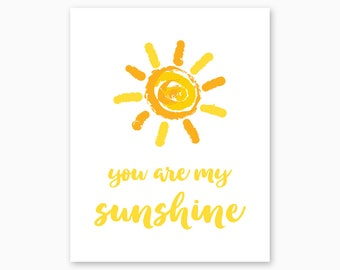 YOU Are My SUNSHINE, Nursery Printable, Playroom Printable, Kids Wall Art, Yellow Nursery, Digital Nursery Art, Instant Download