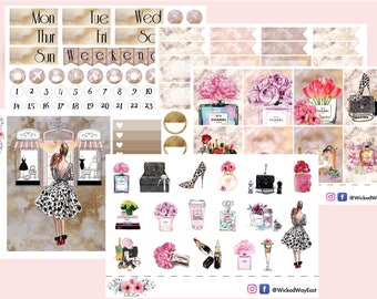 Designer Fashion Weekly Kit, Fashion Girl Stickers, Erin Condren Fashion Weekly Kit, Fashion Woman Sticker Kit, Planner Stationary Accessory
