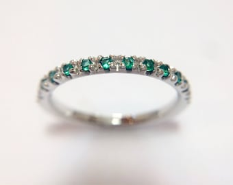 18 ct white gold diamond eternity ring with magnificent natural brilliant cut emeralds