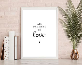 Love, Print, Quotes, A4, Home Decor, Wall Decor, Wall Art, Black and White