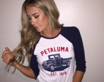 Petaluma Truck Baseball Tee- White and Red- Petaluma Vintage