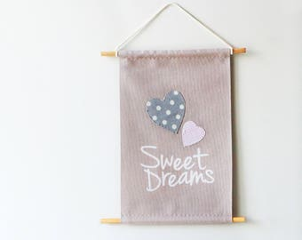 Sweet Dreams Wall Banner for Nursery, Kids, Girls, Boys Bedroom, Playroom, Wall Flag designed with fabric appliques, Baby Gift, Wall Art