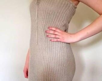 90s sandy knitted strapless beach dress