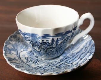 Tea Cup and Saucer / Royal Mail Blue by Myott Staffordshire / English Ironstone