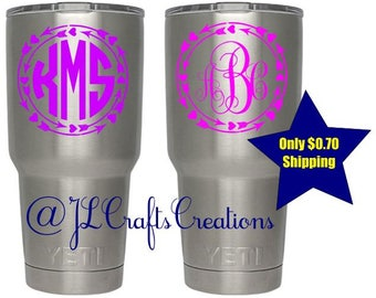 Yeti Decal for Women - Yeti Monogram Decal - Custom Vinyl Decal - Tumbler Sticker - Car Decal for her - Yeti Sticker - Personalized Sticker