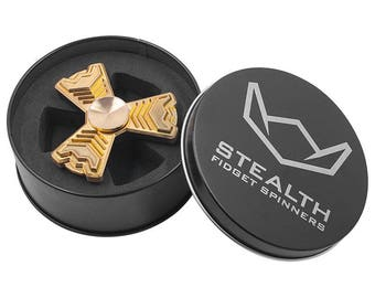 Aventador Gold Brass Fidget Spinner - 4-6+ Min Spins, 3.5 oz. High Quality Metal Hand Spinner with R188 Steel Bearings - Stealth Spinners