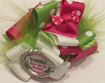 Hair-do by daddy Stacked boutique hair bow Father's Day hair bow