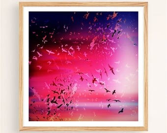Glitch Sunset Birds