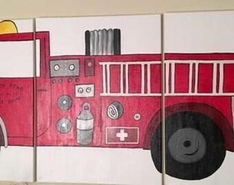 3 Panel Fire Truck Art