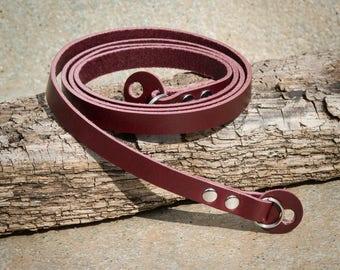 10mm Rich Burgundy Leather Camera Strap