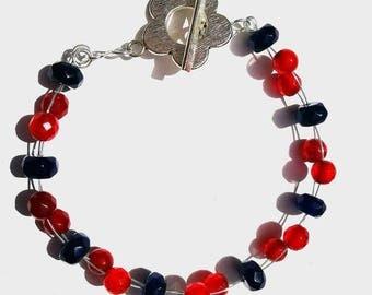 Ruby and Sapphire handmade beaded bracelet