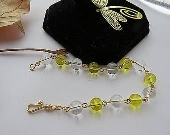 Crystal  bracelet White crystal bracelet Yellow crystal bracelet Gold bracelet Gold plated bracelet